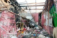 Zerstörtes Haus vom Bombeneffekt lizenzfreie stockfotografie