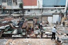 Zerstörung des Eisen-Brücken-Marktes in Bangkok, Thailand Auf 28 Octob Lizenzfreie Stockfotografie