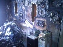 Zerstörung durch Feuer stockbild