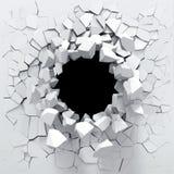 Zerstörung einer weißen Wand Stockfotos