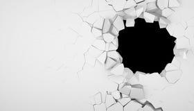 Zerstörung einer weißen Wand stock abbildung