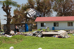 Zerstörung verursacht durch tropischen Wirbelsturm Winston Stockfotos