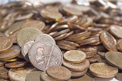 Zerstreute Sammlung südafrikanische Münzen 1 Stockfoto