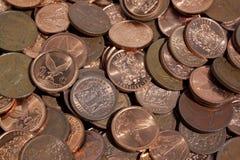 Zerstreute Sammlung südafrikanische Münzen 3 Stockfotografie