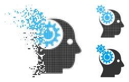 Zerstreuter punktierter Halbton-Brain Gears Rotation Icon stock abbildung