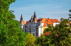 Zerteilen Sie Ansicht des schönen historischen Gebäudes in Breslau Stockbild