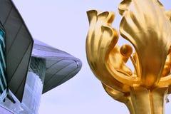 Zerteilen Sie Bild, goldene Bauhiniaskulptur und Hong- Kongversammlung u. Ausstellungsmitte Lizenzfreie Stockbilder
