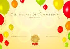 Zertifikat der Fertigstellung (Schablone) für Kinder Lizenzfreies Stockfoto