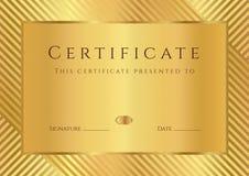 Goldene Zertifikat-/Diplomschablone Lizenzfreies Stockbild