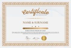 Zertifikat der Fertigstellungs-Schablone Stockbilder