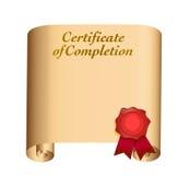 Zertifikat des Fertigstellungsillustrationsdesigns Lizenzfreie Stockfotos