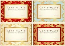 Zertifikat-/Diplomhintergrundschablone. Muster Stockbild