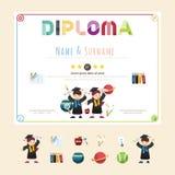Zertifikat scherzt Diplom, Kindergartenschablonenplan lizenzfreie abbildung