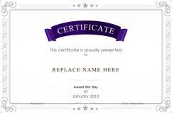 Zertifikatgrenze, Zertifikatschablone Abbildung Lizenzfreie Stockfotos