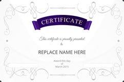 Zertifikatgrenze, Zertifikatschablone Auch im corel abgehobenen Betrag Lizenzfreies Stockbild