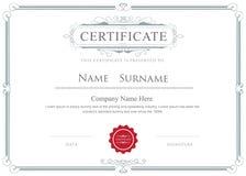 Zertifikatgrenzvektor elegante Flourishesschablone Lizenzfreies Stockfoto