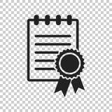 Zertifikatikone Diplomsymbol Flache Vektorillustration ist eingeschaltet Lizenzfreie Stockbilder