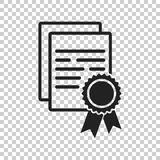 Zertifikatikone Diplomsymbol Flache Vektorillustration ist eingeschaltet Stockfoto