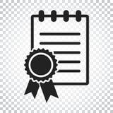 Zertifikatikone Diplomsymbol Flache Vektorillustration ist eingeschaltet Stockbilder