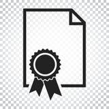 Zertifikatikone Diplomsymbol Flache Vektorillustration ist eingeschaltet Lizenzfreie Stockfotos