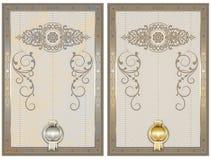 Zertifikatschablone mit den dekorativen und Guillocheelementen Stockbild