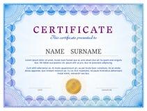 Zertifikatschablone mit Guillocheelementen Lizenzfreie Stockfotos