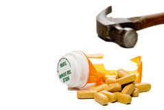 Zertrümmerte Pille-Flasche lizenzfreies stockfoto
