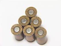 Zes 9mm kogels Stock Fotografie