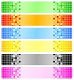 Zes abstracte banners met pixel Stock Afbeelding