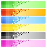 Zes abstracte banners met pixel Stock Fotografie