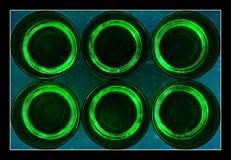Zes abstracte groene glazen Stock Foto