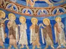 Zes apostelen in een middeleeuws muurschilderij Stock Foto's
