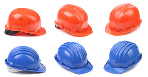 Zes blauwe en rode bouwvakkers Royalty-vrije Stock Foto
