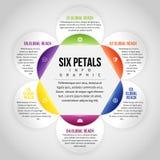 Zes Bloemblaadjes Infographic Stock Afbeeldingen
