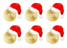 Zes christmass bedrijfspromostickers Royalty-vrije Stock Fotografie