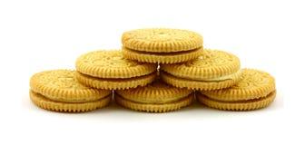 Zes citroen gevulde koekjes Stock Afbeelding