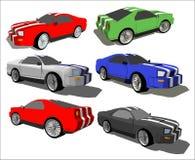 Zes concepten een snelle auto stock illustratie
