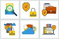 Zes concepten - Gegevensbescherming en encryptie royalty-vrije illustratie