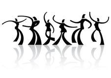 Zes dansende silhouetten Royalty-vrije Stock Foto