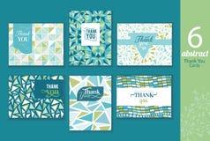 Zes de abstracte wijnoogst u kaarten dankt die met tekst worden geplaatst, herhalen patroonachtergronden perfect voor om het even Stock Foto's