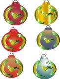 Zes decoratieve ballen van Kerstmis Royalty-vrije Stock Afbeeldingen