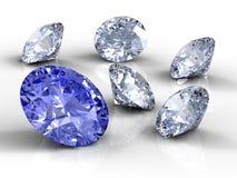 Zes diamanten Stock Afbeeldingen