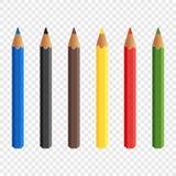 Zes die kleurpotloden op transparante achtergrond worden geïsoleerd De potloden trekken Baby kleurrijke kleurpotloden Vector illu stock illustratie