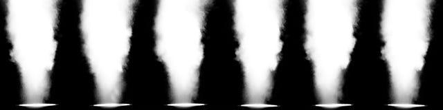 Zes die lichten in een rij met rook wordt gevuld Royalty-vrije Stock Foto
