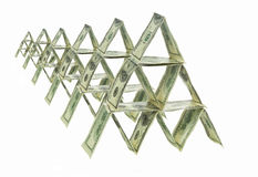 Zes dollarspiramides Stock Fotografie