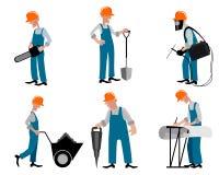 Zes geplaatste bouwers vector illustratie