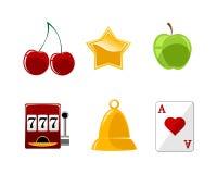 Zes geplaatste casinopictogrammen Royalty-vrije Stock Fotografie