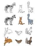 Zes geplaatste dieren Royalty-vrije Stock Foto's