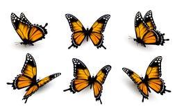 Zes geplaatste vlinders royalty-vrije illustratie