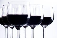 Zes glazen rode wijn Royalty-vrije Stock Afbeelding